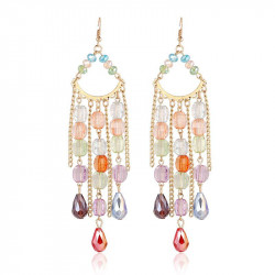 Excellent quality fashionable long style color earrings tassel exaggerated earrings earrings accessories discount