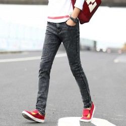 Fall Winter new style elastic slim gray jeans and black men fast delivery