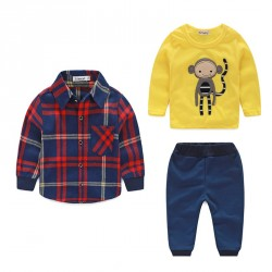 Fast delivery boy cartoon images cotton plaid cotton jersey embroidered shirt sanding trousers three sets