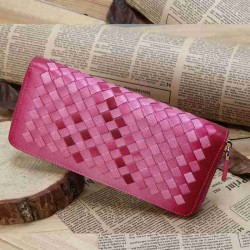 European market and the US market fashion sheepskin spell color woven leather wallet zipper wallet Ms. color long section handbags