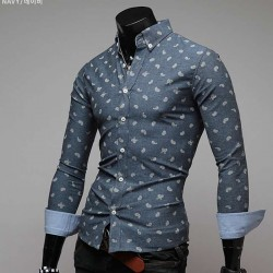 Fall Winter new style men's long-sleeved dress shirt men's long-sleeved shirt stitching pattern ribbon fast delivery