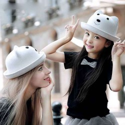 Dongkuan childrens ear hat wool hat parent-child cap mother material girls fashion cute hat