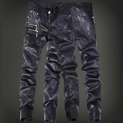 European market and the US market resilient black leather pants men get off on a new style pu material leather pencil pants short style facilitates tight Slim autumn and winter leather