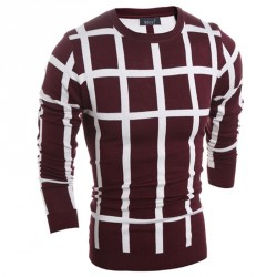 Autumn new low price grid size men's casual round neck knit pullover
