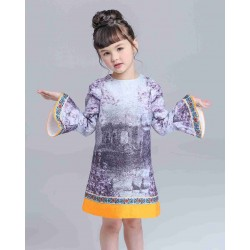 Fast delivery and low prices in Europe market American Wind girls summer paragraph Tong skirt dress ink cards