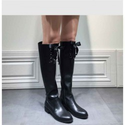 Popular new style leather boots bow Ms. barreled side zipper over knee boots low-heeled leather Ms. boots discounted round