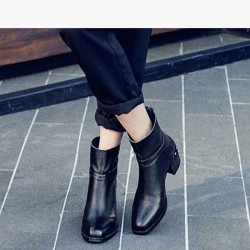 Autumn and winter the new style of ladies' shoes boots thick with minimalist fashion trend lady boots leather high-heeled single shoe interior