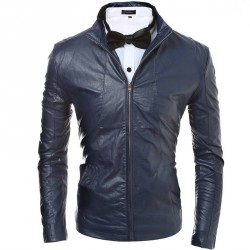 Discount new style low price hot sell men's fashion simple solid color Slim leather jacket