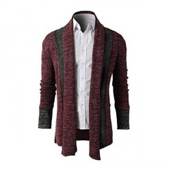 Low price hot selling good quality men stitching long style knit sweater coat