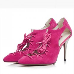 Discount summer new leather high-heeled sandals sheepskin material fashion tip fine with Ms. full leather lace shoes
