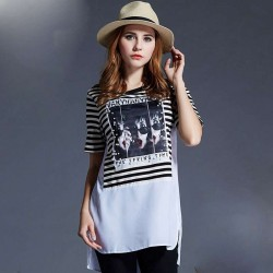 Europe station summer fashion beading short-sleeved t-shirt too fat ladies large size of the European market and the US market women striped shirt printing