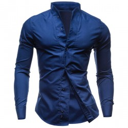 Direct selling low price new style men's Spring and Autumn Slim casual fashion solid color shirt