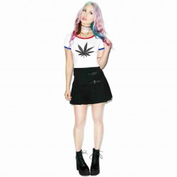 Hot selling sexy black printing cannabina half lo shi jacket tide nightclub party round short-sleeved T-shirt, Ms.
