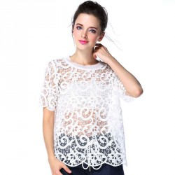 Amoi models in Europe and the US market fashion style lace openwork crochet sweater lace shirt