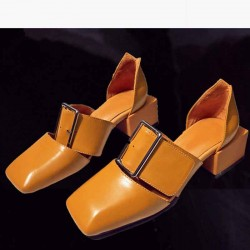 European market and the US market new models of luxury leather shoes ladies fashion generous buckle square head thick with low-heeled ladies sandals