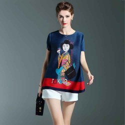 Europe station ladies fashion printed T-shirt discount summer thin section loose the European market and the US market, short-sleeved shirt