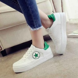 Autumn new models casual shoes lady flat shoes lady flat shoes colorful round thick heel lace shoes