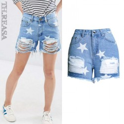 Europe and the United States market popular new stars printing personalized style shorts with hairy edge of popular denim shorts