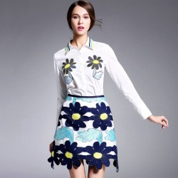 Autumn new style of white long-sleeved shirt sunflowers package hip skirt A-shaped two-piece skirt suit Ms.