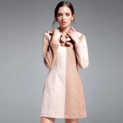 Autumn and winter new models in Europe and the US fashion market yin and yang side colorful irregular collar long-sleeved Slim slim A-shaped dress shape