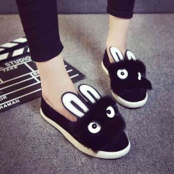 Autumn new models really rabbit fur boots flat shoes with flat shoes lady pointed casual shoes ladies shoes
