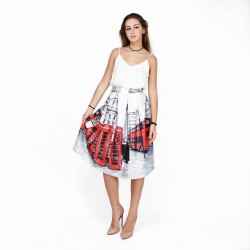 Autumn new models in Europe and the US market fashion booth stations European digital prints skirt waist A-shaped skirt over knee skirt