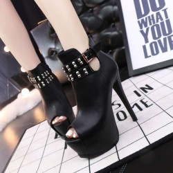 2330-C2 of the European market and the US market fashion sexy ultra fine with open toe thick heel boots Martin boots rivet slim women