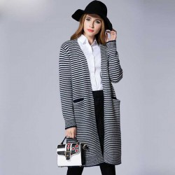 Autumn new models overweight ladies large size women knitted cardigan overweight ladies long style striped sweater coat