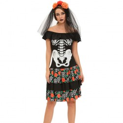 Collar short sleeve prints Halloween Skull new style black shape of the word means two stage devil costume 89007