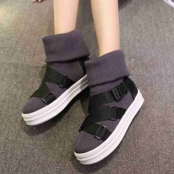 Flat round Europe station new autumn and winter styles ladies casual wool socks short boots thick high heel snow boots to help