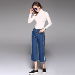 Autumn popular new models in Europe and the US market of international brand casual denim wide leg pants women fast delivery