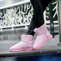 In the latest styles stylish leather high-top couple of warm snow boots shoes ladies' shoes fast delivery