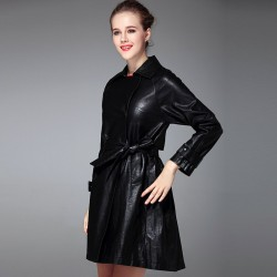Autumn and winter new models in Europe and the US market fashion lapel double-breasted belted long style leather jacket