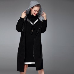 Autumn and winter new models in Europe and the US market fashion all match temperament colorful striped hooded long sleeve loose style jacket