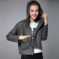 Autumn and winter new models in Europe and the US market all match long-sleeved fashion simple large pocket casual hooded short style leather jacket