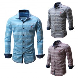 CatchyMarket High Quality Mens Button Down Stripe Dress Shirt