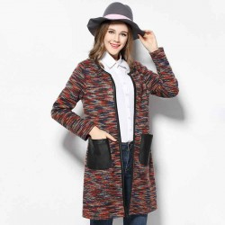 2017 European market and the US market large size women's spring overweight ladies new style knit cardigan fashion slim Pu material stitching long-sleeved jacket