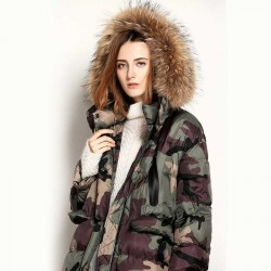 Autumn and winter new models in Europe and the US markets open side fashion camouflage fur collar long down jacket style removable cap