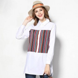 2017 European market and the US market large size women's spring new models overweight ladies cotton blouses plus fertilizer to increase cotton shirts Ms.