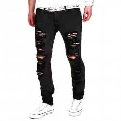 Casual Hole Cut Straight Distressed Pants Stretchy Trousers for Men