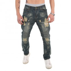 Men's Blue Denim Jeans Hole Cut Straight Distressed Trousers