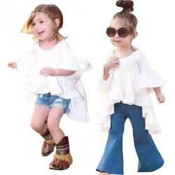 Baby Girl Speaker Sleeve Skirt Dress Flare Denim Pants Outfits Sets