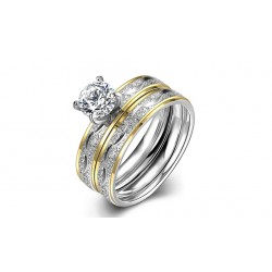 Gold Plated Bridal Ring and Ring Band Set