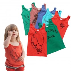 Boys Girls Tank Tops Cartoon Cotton Unisex Vest Clothes