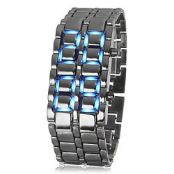 Men & #039;S Lava Style Blue Led Digital Silver Steel Wrist Watch