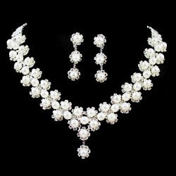 Gorgeous Rhinestone/Imitation Pearl Bridal Jewelry Set ?17 Inch Necklace With Earrings