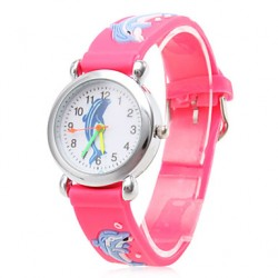 Children & #039;S Cartoon Dolphin Pattern Red Silicone Band Quartz Analog Wrist Watch