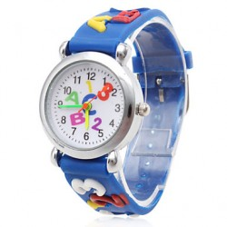 Children & #039;S Letters Pattern Blue Silicone Band Quartz Analog Wrist Watch