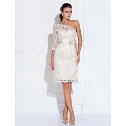 Cocktail Party/Graduation Dress- Champagne Plus Sizes/Petite Sheath/Column One Shoulder/Sweetheart Knee-Length Lace