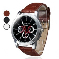 Men & #039;S Business Style PU Leather Band Quartz Wrist Watch (Assorted Colors)
